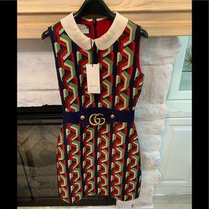 GUCCI Multicolor Chain Print Dress Size 38